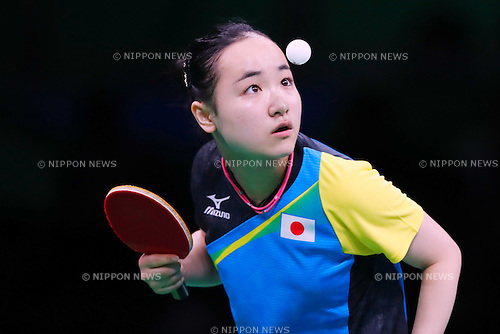 Mima Ito (JPN), <br /> AUGUST 14, 2016 - Table Tennis : <br /> Women's Team Semi-final <br /> at Riocentro - Pavilion 3 <br /> during the Rio 2016 Olympic Games in Rio de Janeiro, Brazil. <br /> (Photo by Sho Tamura/AFLO SPORT)