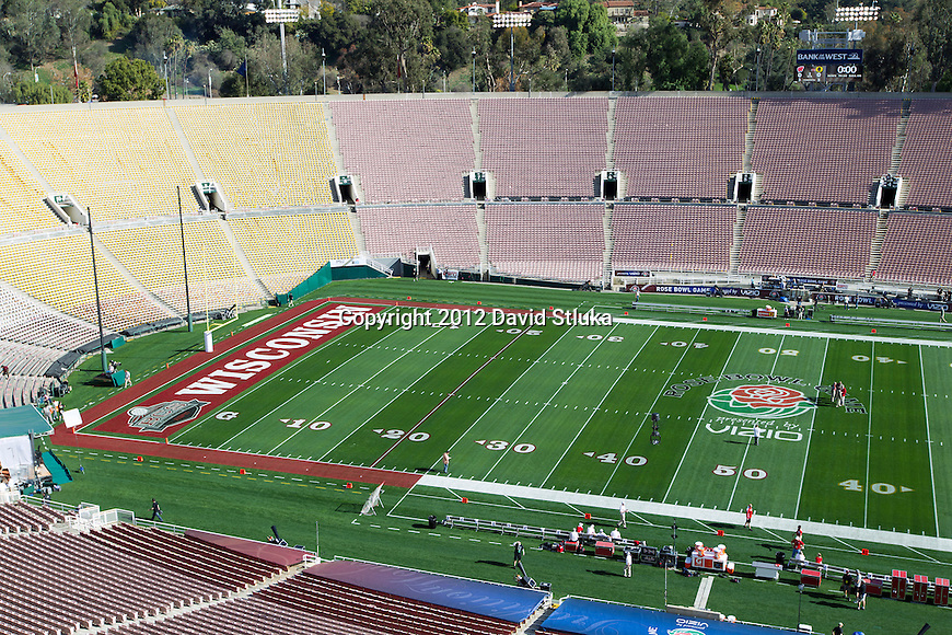 A general view of Rose Bowl Stadium before the Wisconsin Badgers 2012 Rose Bowl NCAA football game against the Oregon Ducks in Pasadena, California on January 2, 2012. The Ducks won 45-38. (Photo by David Stluka)