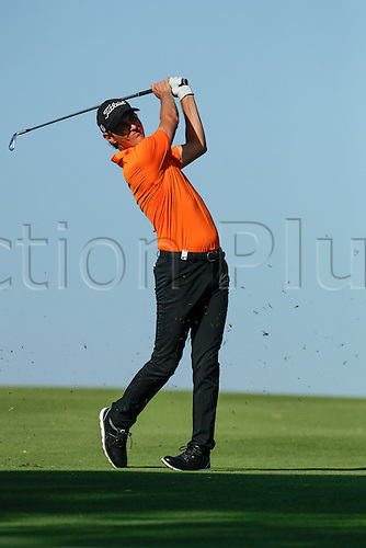 28.02.2016. Perth, Australia. ISPS HANDA Perth International Golf. Jason Scrivener (AUS) plays an approach shot at the 18th during his final round.