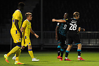 Joel Asoro of Swansea City celebrates scoring his side's third goal during the pre-season friendly match between Bristol Rovers and Swansea City at The Memorial Stadium in Bristol, England, UK. Tuesday, 23 July 2019