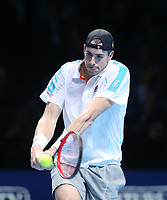 John Isner of the United States during his singles round robin match against Novak Djokovic of Serbia<br /> <br /> Photographer Rob Newell/CameraSport<br /> <br /> International Tennis - Nitto ATP World Tour Finals Day 2 - O2 Arena - London - Sunday 12th November 2018<br /> <br /> World Copyright &copy; 2018 CameraSport. All rights reserved. 43 Linden Ave. Countesthorpe. Leicester. England. LE8 5PG - Tel: +44 (0) 116 277 4147 - admin@camerasport.com - www.camerasport.com