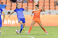 Houston, TX - Saturday July 22, 2017: Julie King and Carli Lloyd during a regular season National Women's Soccer League (NWSL) match between the Houston Dash and the Boston Breakers at BBVA Compass Stadium.