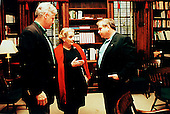 United States President Bill Clinton meets with his Foreign Policy Team at The Washington Summit at Wye River on Saturday, October 17, 1998.  Pictured (left to right): President Clinton; U.S. Secretary of State Madeleine Albright; Samuel (Sandy) Berger, National Security Advisor..Mandatory Credit: White House via CNP
