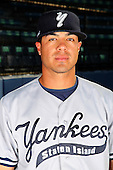 Staten Island Yankees pitcher Manny Barreda poses for a photo before a game vs. the Jamestown Jammers at Russell Diethrick Park in Jamestown Jammers, New York July 15, 2010.   Jamestown defeated Staten Island 5-1.  Photo By Mike Janes/Four Seam Images