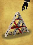 Illustrative image of hand pointing towards pyramid made of cards representing teamwork