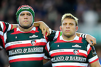 Marcos Ayerza and Tom Youngs of Leicester Tigers look on during a minute silence in honour of the late Anthony Foley. European Rugby Champions Cup match, between Leicester Tigers and Racing 92 on October 23, 2016 at Welford Road in Leicester, England. Photo by: Patrick Khachfe / JMP