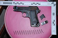 Pictured: One of the guns found<br /> Re: A drugs gang has been jailed for a total of sixty-two-and-a-half years after South Wales Police disrupted a drugs run from London to Cardiff and uncovered a sophisticated and lucrative criminal operation.<br /> Seven men were sentenced today after they were each convicted of being involved in the supply of Class A and B drugs at previous hearings at Cardiff Crown Court.<br /> The jury heard officers from the force's Organised Crime Unit confronted driver Stuart Jarman at Membury Services on the M4 on March 15th this year – and discovered 2kg of cocaine. Analysis of the Class A drug found it was 80% pure with a street value of £450,000.<br /> Jarman's arrest led officers to six other gang members – as well as a large-scale cannabis factory in Ammanford and another in Waunarlwyd, as well as an illegally-held live handgun.<br /> The following are today starting lengthy sentences after being convicted of conspiracy to supply Class A drugs:<br /> Stuart Jarman, 41, of Garden City, Rhymney, jailed for 6 years;<br /> Lec Gjoka, 42, of Greenwich, London, jailed for 14 years;<br /> Jason Theobald, 42, of Hill Street, Rhymney, jailed for 10 years;<br /> Lyndon Evans, 37, of Wind Street, Ammanford, jailed for nine years;<br /> John Knight, 36, of Pleasant Street, Pentre, jailed for 18 years.<br /> Evans and Knight had also admitted a separate charge of conspiring to supply cannabis, alongside Anthony Vobe, 41, of Garnant, Ammanford, who was jailed for three years for conspiracy to supply cannabis.<br /> A seventh defendant, Richard Phillips, 51, of Barnabas Close, Waunarlwydd, Swansea, was jailed for two-and-a-half years after he pleaded guilty to possessing a firearm whilst banned from doing so due to previous convictions, and conspiracy to produce cannabis. It was at his farm that officers located the firearm and one cannabis factory.<br /> The second cannabis factory was located in Ammanford and – at the time of being raided – had the potential to net the gang a further estimated £70,000.<br /> Acting