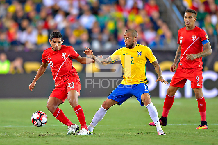 Photo during the match Brasil vs Peru, Corresponding to  Group -B- of the America Cup Centenary 2016 at Gillette Stadium.<br /> <br /> Foto durante al partido Brasil vs Peru, Correspondiente al Grupo -B- de la Copa America Centenario 2016 en el Estadio Gillette en la foto: (i-d) Edison Flores y Dani Alves<br /> <br /> <br /> 12/06/2016/MEXSPORT/ISAAC ORTIZ