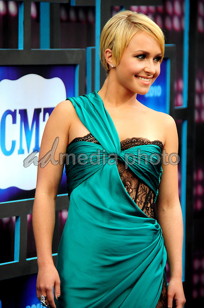 10 June 2010 - Nashville,TN - Hayden Panettiere on the blue carpet at the 2010 CMT Awards. Photo Credit: Mike Strasinger/ AdMedia