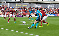 Aiden O'Neill of Fleetwood Town puts a cross in during the Sky Bet League 1 match between Northampton Town and Fleetwood Town at Sixfields Stadium, Northampton, England on 12 August 2017. Photo by Alan  Stanford / PRiME Media Images.