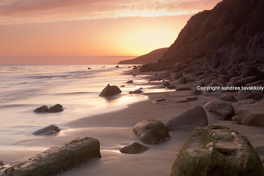 A beautiful evening on a rocky beach on the Gaviota Coast (Sunset)