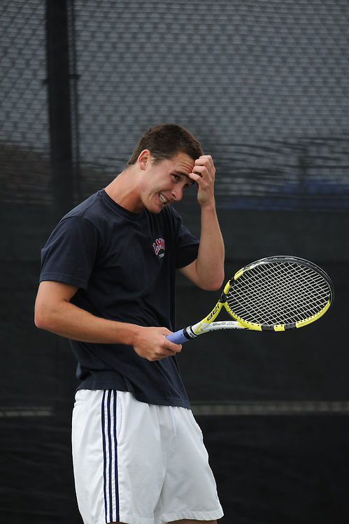 SAN DIEGO, CA - APRIL 24:  Renzo Maggi of the LMU Lions during the WCC Tennis Championships at the Barnes Tennis Center on April 24, 2010 in San Diego, California.