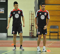 D.C. United midfielder Marcelo Saragosa right with forward Long Tan during the pre-season fitness training session at George Manson University before departing for Bradenton Florida to get ready for the 2013 season, Friday January 18, 2013.