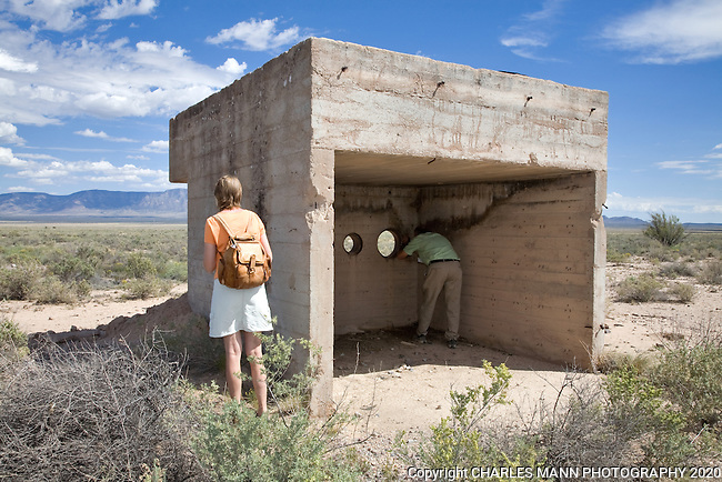 The TrinityTest Site, where the first atomic bomb was exploded on July 16, 1945, is open to the public on the first Saturday of April and October. The West 10,000 yard  Observation Bunker is one of three that were situated north, west and south of Ground Zero..