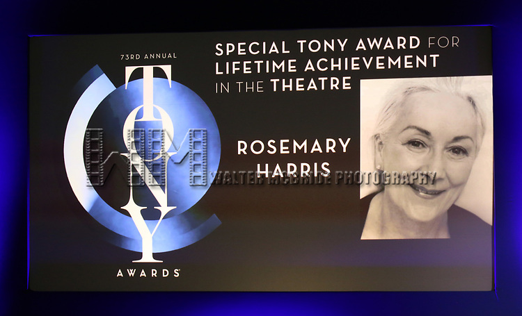 Special Tony Award for Lifetime Achievement in the Theatre for Rosemary Harris during The 73rd Annual Tony Awards Nominations Announcement on April 30, 2019 in New York City.