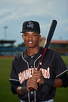 Jupiter Hammerheads Jose Devers (1) poses for a photo before a Florida State League game against the Florida Fire Frogs on April 8, 2019 at Osceola County Stadium in Kissimmee, Florida.  Florida defeated Jupiter 7-6 in ten innings.  (Mike Janes/Four Seam Images)
