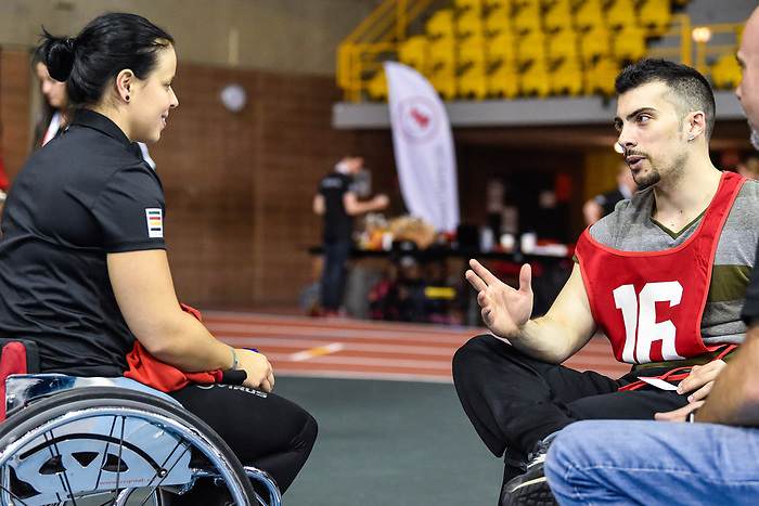 MONTREAL, QC - APRIL 29:  Cindy Ouellet speaks with a participant during the 2017 Montreal Paralympian Search at Complexe sportif Claude-Robillard. Photo: Minas Panagiotakis/Canadian Paralympic Committee