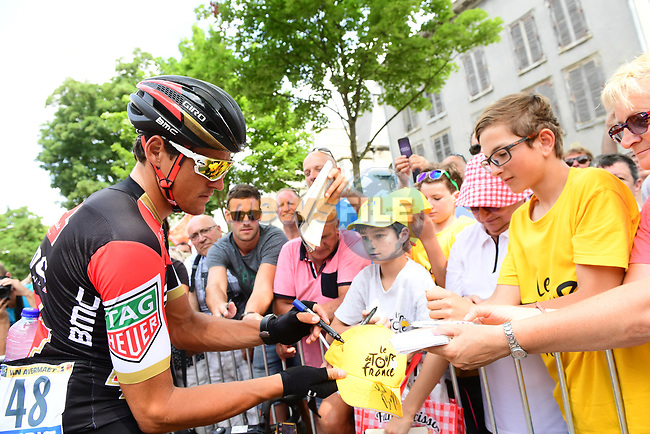 Richie Porte (AUS) BMC Racing Team with fans at sign on before the start of Stage 7 of the 104th edition of the Tour de France 2017, running 213.5km from Troyes to Nuits-Saint-Georges, France. 7th July 2017.<br /> Picture: ASO/Alex Broadway | Cyclefile<br /> <br /> <br /> All photos usage must carry mandatory copyright credit (&copy; Cyclefile | ASO/Alex Broadway)