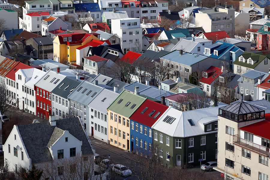 Colorful neighborhood houses in downtown Reykjavik viewed from observation tower of Hallgrimskirkja, Iceland