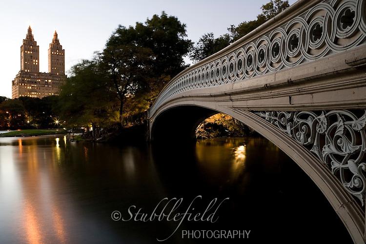 Bow Bridge in New York's Central Park at Dusk.