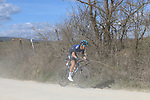 The peloton led by Diego Rosa (ITA) Team Sky on sector 2 Bagnaia during Strade Bianche 2019 running 184km from Siena to Siena, held over the white gravel roads of Tuscany, Italy. 9th March 2019.<br /> Picture: Seamus Yore | Cyclefile<br /> <br /> <br /> All photos usage must carry mandatory copyright credit (© Cyclefile | Seamus Yore)