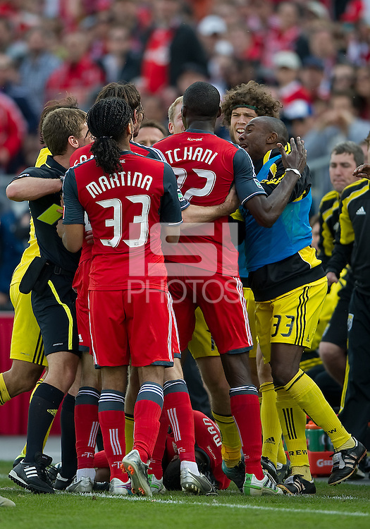 23 April 2011: Toronto FC players and Columbus Crew players in a scrum after a Toronto FC player was kicked during a game between the Columbus Crew and the Toronto FC at BMO Field in Toronto, Ontario Canada..The game ended in a 1-1 draw.