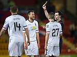 St Johnstone v Inverness Caley Thistle&hellip;09.03.16  SPFL McDiarmid Park, Perth<br />Gary Warren is booked by Ref Don Robertson<br />Picture by Graeme Hart.<br />Copyright Perthshire Picture Agency<br />Tel: 01738 623350  Mobile: 07990 594431