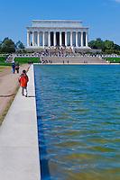 Washington DC, Lincoln Memorial reflecting Pond, Nations Capital, Cherry Blossom trees,