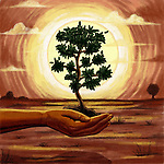 Illustrative image of human hand holding tree representing environment conservation