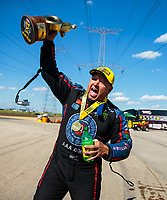 Jun 3, 2018; Joliet, IL, USA; NHRA funny car driver Robert Hight celebrates after winning the Route 66 Nationals at Route 66 Raceway. Mandatory Credit: Mark J. Rebilas-USA TODAY Sports
