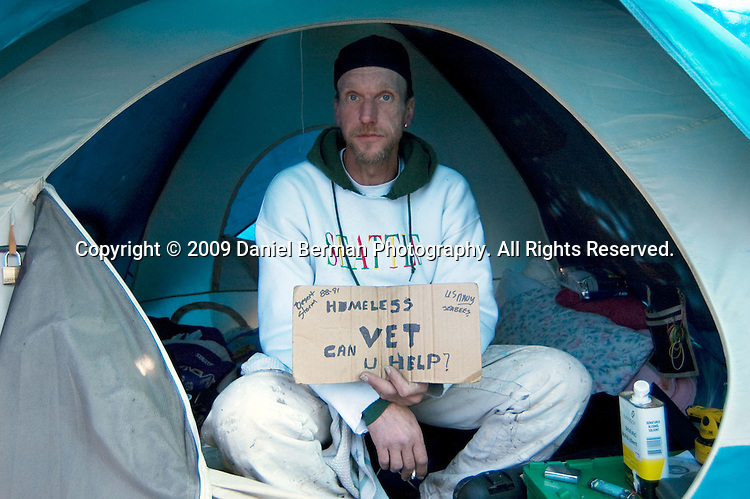 """Mike Farrell has been a Tent City 3 resident for over a year. An Arizona native, Farrell says panhandling is his primary source of income, and that """"if [he] wanted to, [he] could make $200 a day."""" Farrell will be moving to the new Tent City 3 site at Saint Mark's Cathedral near downtown Seattle."""