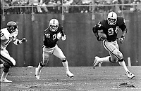 Oakland Raiders Bob Chandler and #84 Derrick Ramsey against the Chicago Bears...(1981 photo/Ron Riesterer)