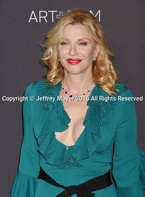LOS ANGELES, CA - OCTOBER 29: Musician Courtney Love attends the 2016 LACMA Art + Film Gala honoring Robert Irwin and Kathryn Bigelow presented by Gucci at LACMA on October 29, 2016 in Los Angeles, California.