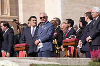 Vatican City, October 13, 2019. Britain's Prince Charles attends a canonization Mass in St. Peter's Square at the Vatican. Pope Francis on Sunday canonized Cardinal John Henry Newman, the 19th-century Anglican convert who became an immensely influential, unifying figure in both the Anglican and Catholic churches. Francis presided over Mass on Sunday in a packed St. Peter's Square to declare Newman and four women saints. (Antonello Nusca/BuenavistaPhoto)