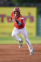 Batavia Muckdogs third baseman Hiram Martinez (15) running the bases during a game against the Jamestown Jammers on July 25, 2014 at Dwyer Stadium in Batavia, New York.  Batavia defeated Jamestown 7-2.  (Mike Janes/Four Seam Images)