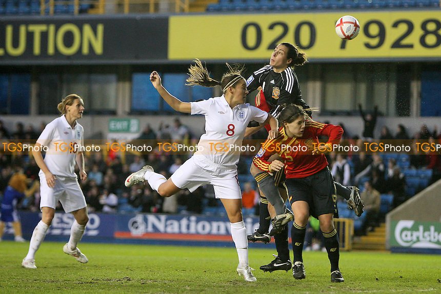Fara Williams of England goes close to a goal, flicking the ball past Spain goalkeeper Ainhoa Tirapu - England Women vs Spain Women - FIFA Women's World Cup 2011 Qualifier at The New Den, Millwall FC, London -  01/04/10 - MANDATORY CREDIT: Gavin Ellis/TGSPHOTO - Self billing applies where appropriate - Tel: 0845 094 6026