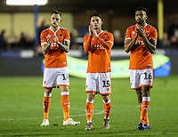Blackpool's Harry Pritchard, Jordan Thompson and Curtis Tilt applaud their side's travelling fans at the end of the match<br /> <br /> <br /> Photographer Andrew Kearns/CameraSport<br /> <br /> The Emirates FA Cup Second Round - Solihull Moors v Blackpool - Friday 30th November 2018 - Damson Park - Solihull<br />  <br /> World Copyright © 2018 CameraSport. All rights reserved. 43 Linden Ave. Countesthorpe. Leicester. England. LE8 5PG - Tel: +44 (0) 116 277 4147 - admin@camerasport.com - www.camerasport.com