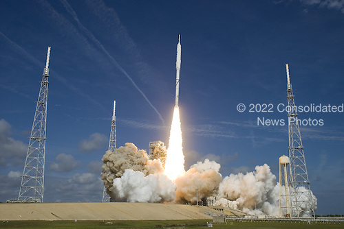 Cape Canaveral, FL - October 28, 2009 - The National Aeronautics and Space Administration's (NASA) Ares I-X test rocket clears the tower at Launch Pad 39B at NASA's Kennedy Space Center in Florida at 11:30 a.m. EDT on Wednesday, October 28, 2009. The rocket produces 2.96 million pounds of thrust at liftoff and reaches a speed of 100 mph in eight seconds. This was the first launch from Kennedy's pads of a vehicle other than the space shuttle since the Apollo Program's Saturn rockets were retired. The parts used to make the Ares I-X booster flew on 30 different shuttle missions ranging from STS-29 in 1989 to STS-106 in 2000. The data returned from more than 700 sensors throughout the rocket will be used to refine the design of future launch vehicles and bring NASA one step closer to reaching its exploration goals. .Mandatory Credit: Scott Andrews - NASA via CNP