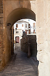 Historic buildings and narrow streets, Alhama de Granada, Spain view to Casa de la Inquisicion, House of the Inquisition,