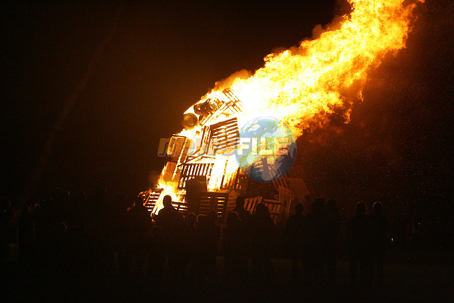 a Large fire on the green in Ballsgrove for holloween. Photo: Newsfile/Fran Caffrey.