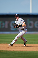 Staten Island Yankees first baseman Eric Wagaman (22) fields a ground ball during a game against the Lowell Spinners on August 22, 2018 at Richmond County Bank Ballpark in Staten Island, New York.  Staten Island defeated Lowell 10-4.  (Mike Janes/Four Seam Images)