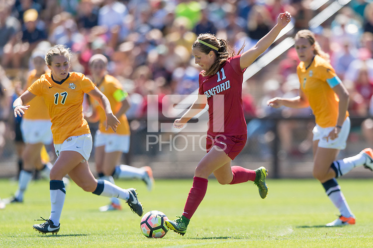 Stanford, CA - September 4, 2016:  Jordan Dibiasi during the Stanford vs Marquette Women's soccer match in Stanford, California.  The Cardinal defeated the Golden Eagles 3-0.