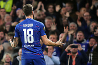 Olivier Giroud celebrates scoring Chelsea's opening goal in front of the home fans during Chelsea vs PAOK Salonika, UEFA Europa League Football at Stamford Bridge on 29th November 2018