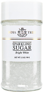 10211 Bright White Sparkling Sugar, Small Jar 3.5 oz, India Tree Storefront