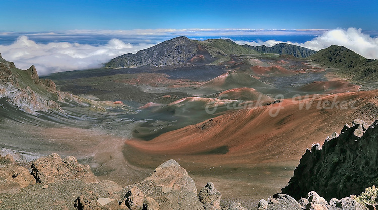 Panorama  of sweeping lava flows in the crater in HALEAKALA NATIONAL PARK on Maui in Hawaii