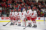 Wisconsin Badgers starters line up during introductions prior to an NCAA college women's hockey game against the Minnesota Golden Gophers Friday, February 14, 2014 in Madison, Wis. The Golden Gophers won 3-2. (Photo by David Stluka)