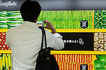 A man takes a picture of a massive 80 meter ''Wall Farmer's Market'' information poster in the Tokyo Metro passageway in Shinjuku on September 1, 2015, Tokyo, Japan. The Central Union of Agricultural Co-operatives (JA-ZENCHU) is promoting Japanese vegetables with the vegetable columns and a massive 80 meter information poster until September 6th. (Photo by Rodrigo Reyes Marin/AFLO)
