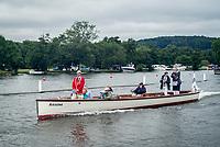 Henley Royal Regatta, Henley on Thames, Oxfordshire, 28 June - 2 July 2017.  Thursday  09:48:40   29/06/2017  [Mandatory Credit/Intersport Images]<br /> <br /> Rowing, Henley Reach, Henley Royal Regatta.<br /> <br /> R C Phelps, Esq. Umpire on launch ARIADNE