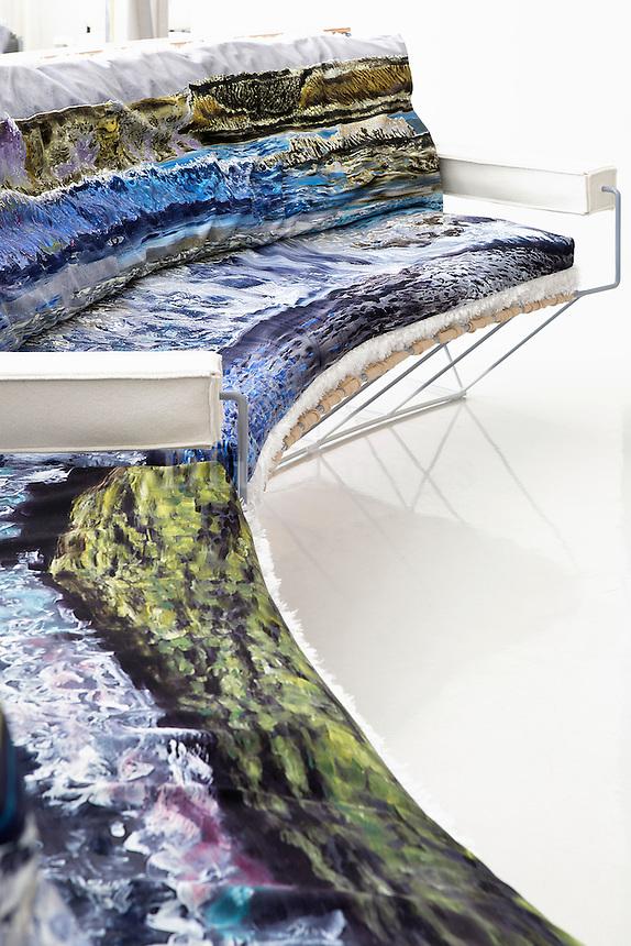 modern colored sofa