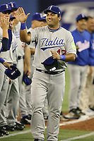 March 7, 2009:  First baseman Giuseppe Mazzanti (47) of Italy during the first round of the World Baseball Classic at the Rogers Centre in Toronto, Ontario, Canada.  Venezuela defeated Italy 7-0 in both teams opening game of the tournament.  Photo by:  Mike Janes/Four Seam Images